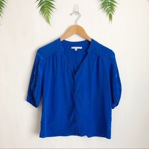Amanda Uprichard • Blue Silk Button Down Blouse